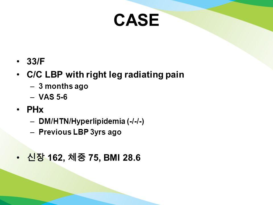 CASE 33/F C/C LBP with right leg radiating pain –3 months ago –VAS 5-6 PHx –DM/HTN/Hyperlipidemia (-/-/-) –Previous LBP 3yrs ago 신장 162, 체중 75, BMI 28.6