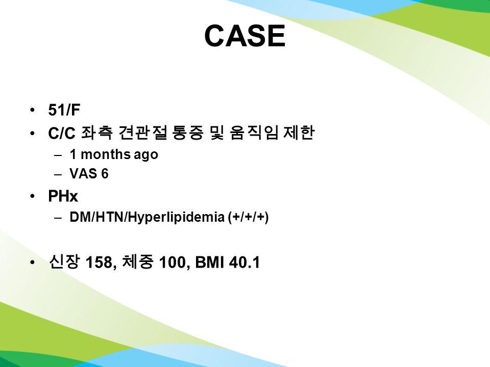 CASE 51/F C/C 좌측 견관절 통증 및 움직임 제한 –1 months ago –VAS 6 PHx –DM/HTN/Hyperlipidemia (+/+/+) 신장 158, 체중 100, BMI 40.1