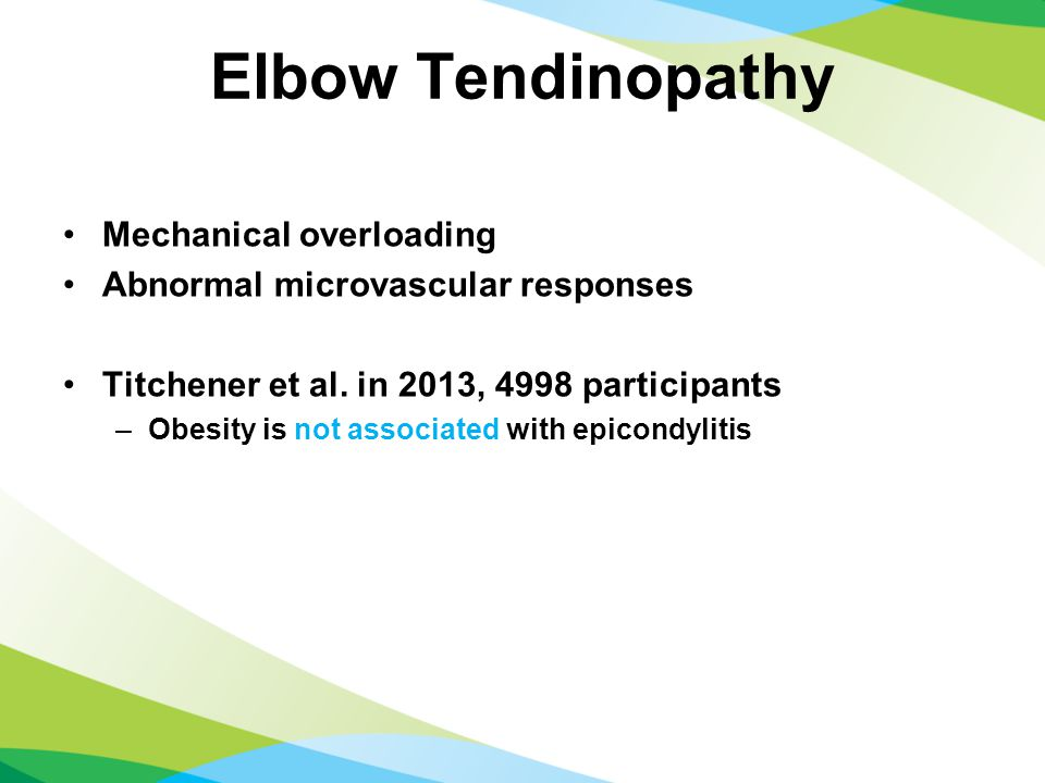 Elbow Tendinopathy Mechanical overloading Abnormal microvascular responses Titchener et al.