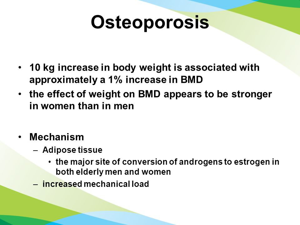 Osteoporosis 10 kg increase in body weight is associated with approximately a 1% increase in BMD the effect of weight on BMD appears to be stronger in women than in men Mechanism –Adipose tissue the major site of conversion of androgens to estrogen in both elderly men and women –increased mechanical load