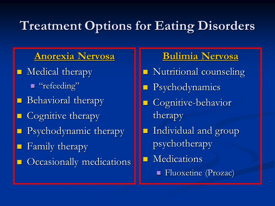 Treatment Options for Eating Disorders Anorexia Nervosa Medical therapy Medical therapy refeeding refeeding Behavioral therapy Behavioral therapy Cognitive therapy Cognitive therapy Psychodynamic therapy Psychodynamic therapy Family therapy Family therapy Occasionally medications Occasionally medications Bulimia Nervosa Nutritional counseling Psychodynamics Cognitive-behavior therapy Individual and group psychotherapy Medications Fluoxetine (Prozac)