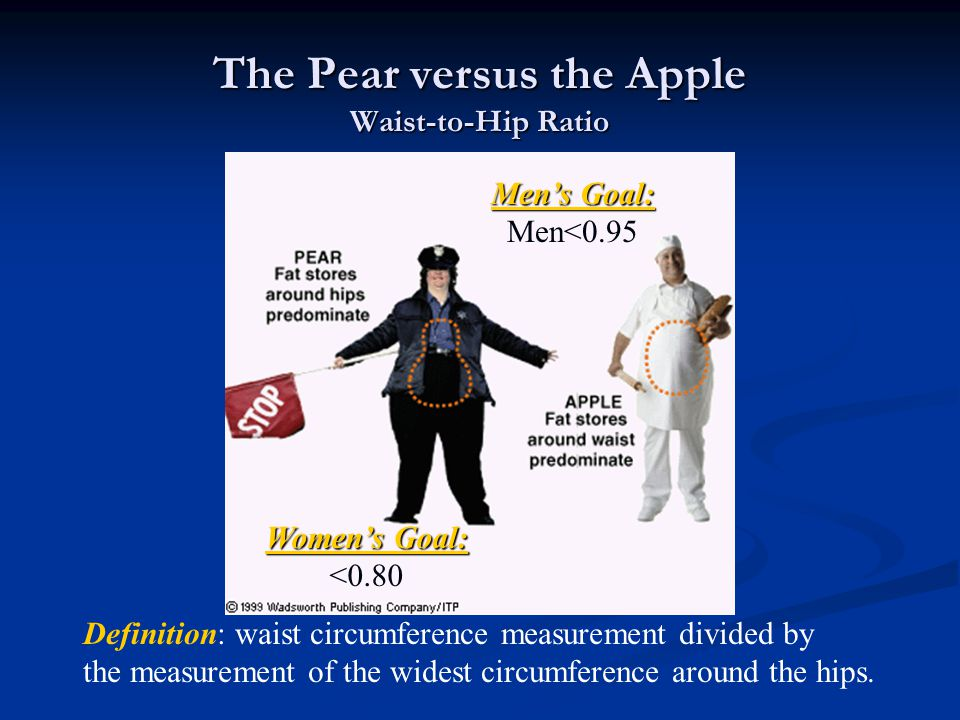 The Pear versus the Apple Waist-to-Hip Ratio Definition: waist circumference measurement divided by the measurement of the widest circumference around the hips.