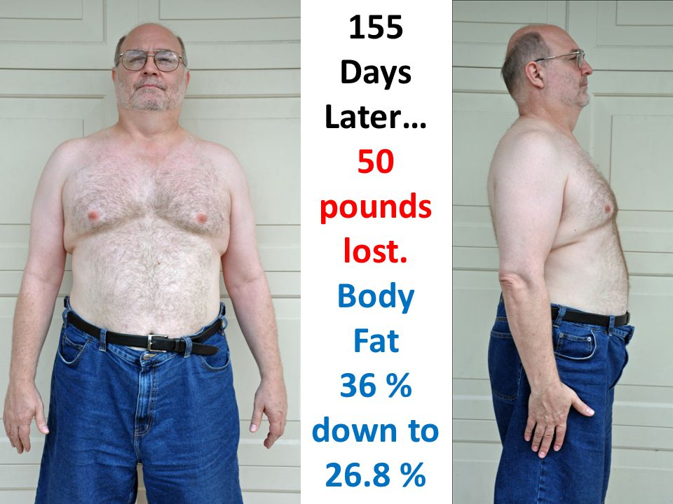 155 Days Later… 50 pounds lost. Body Fat 36 % down to 26.8 %