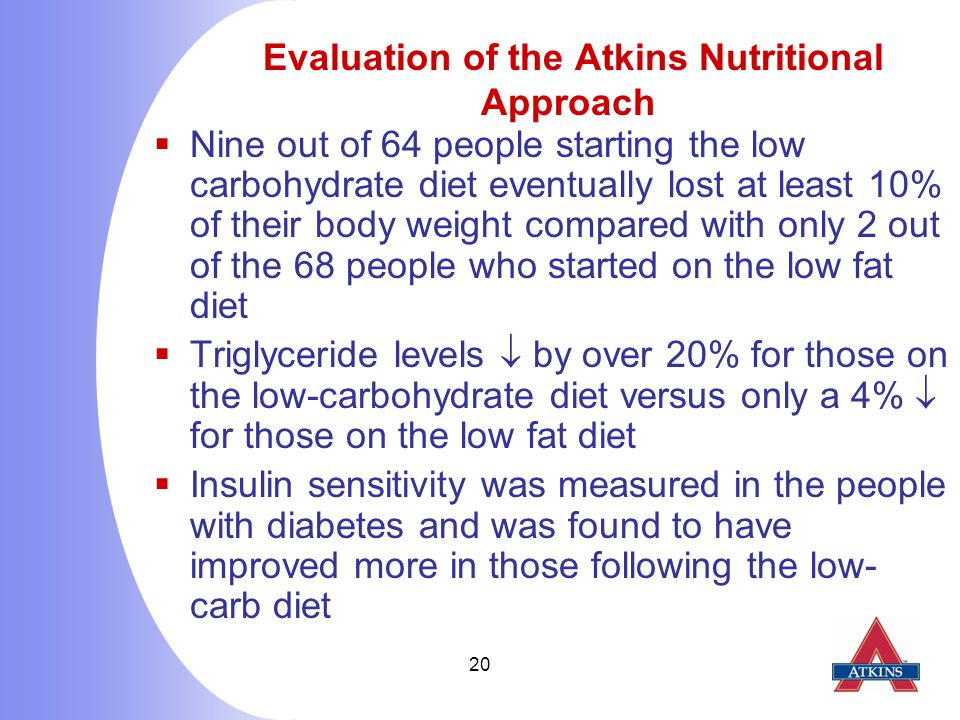 20 Evaluation of the Atkins Nutritional Approach  Nine out of 64 people starting the low carbohydrate diet eventually lost at least 10% of their body weight compared with only 2 out of the 68 people who started on the low fat diet  Triglyceride levels  by over 20% for those on the low-carbohydrate diet versus only a 4%  for those on the low fat diet  Insulin sensitivity was measured in the people with diabetes and was found to have improved more in those following the low- carb diet
