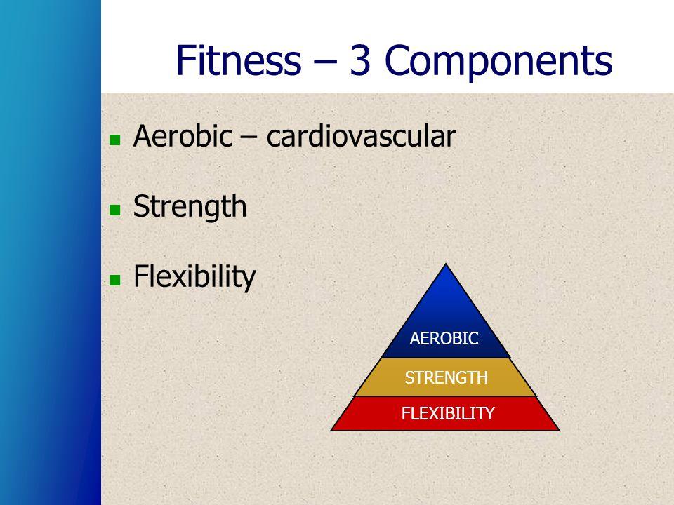 Fitness – 3 Components Aerobic – cardiovascular Strength Flexibility STRENGTH AEROBIC FLEXIBILITY