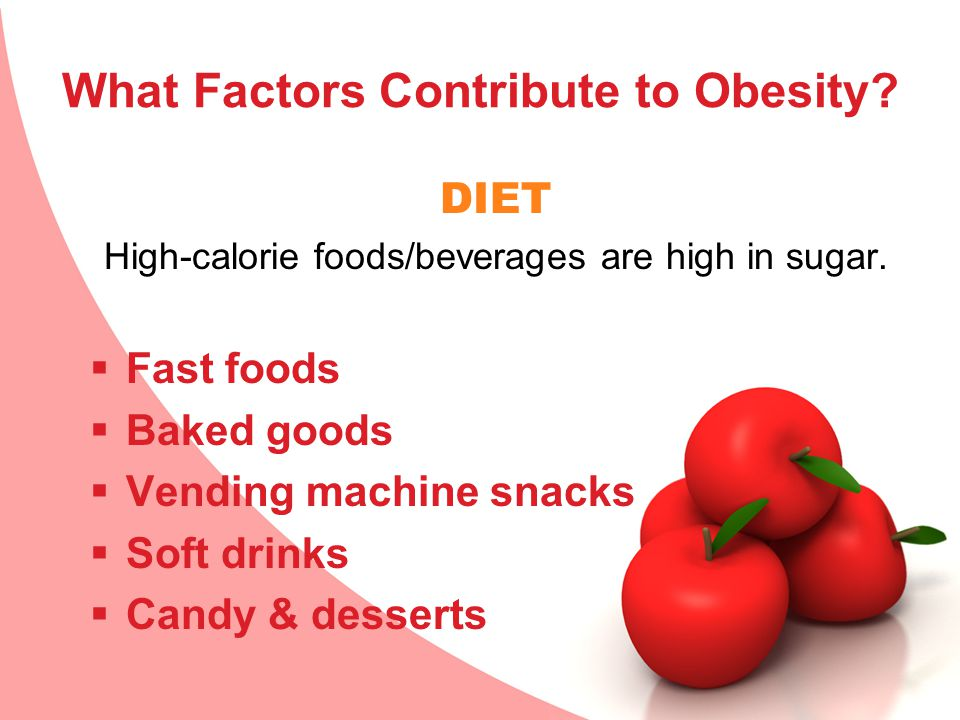 What Factors Contribute to Obesity? DIET High-calorie foods/beverages are high in sugar.  Fast foods  Baked goods  Vending machine snacks  Soft dr