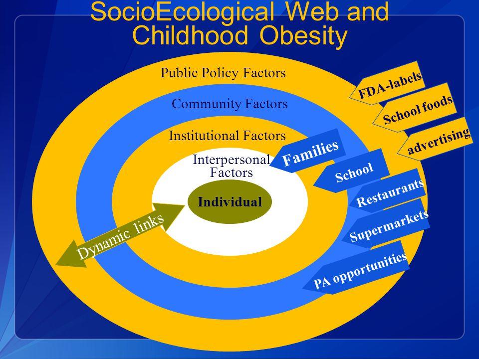 SocioEcological Web and Childhood Obesity Individual Interpersonal Factors Institutional Factors Community Factors Public Policy Factors Restaurants D