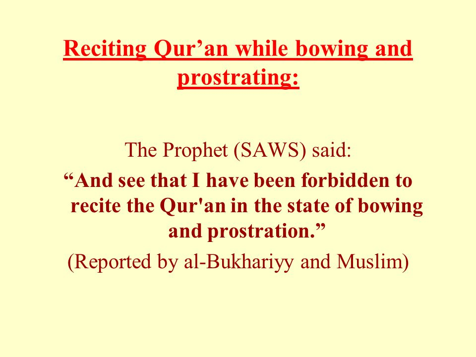 "Reciting Qur'an while bowing and prostrating: The Prophet (SAWS) said: ""And see that I have been forbidden to recite the Qur'an in the state of bowing"