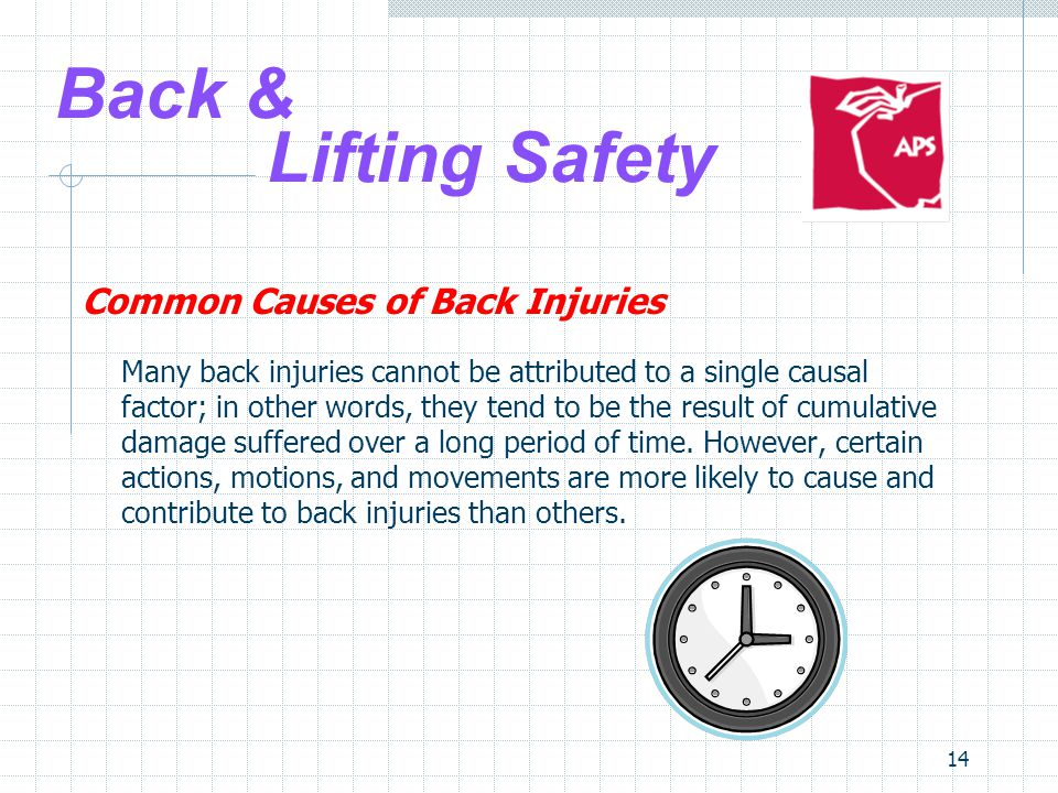 14 Back & Lifting Safety Common Causes of Back Injuries Many back injuries cannot be attributed to a single causal factor; in other words, they tend to be the result of cumulative damage suffered over a long period of time.