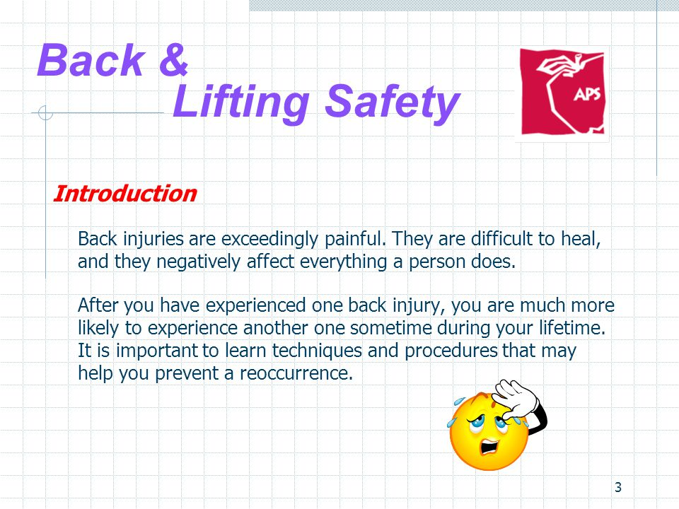 3 Back & Lifting Safety Introduction Back injuries are exceedingly painful.