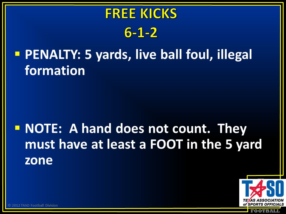 FOOTBALL  PENALTY: 5 yards, live ball foul, illegal formation  NOTE: A hand does not count.
