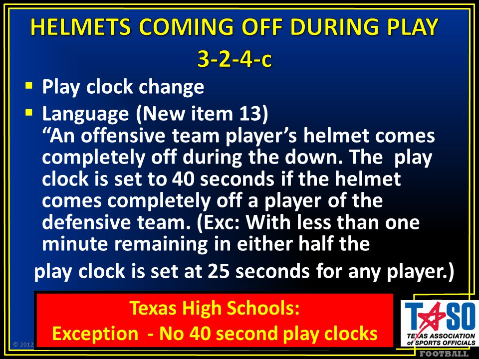 FOOTBALL  Play clock change  Language (New item 13) An offensive team player's helmet comes completely off during the down.
