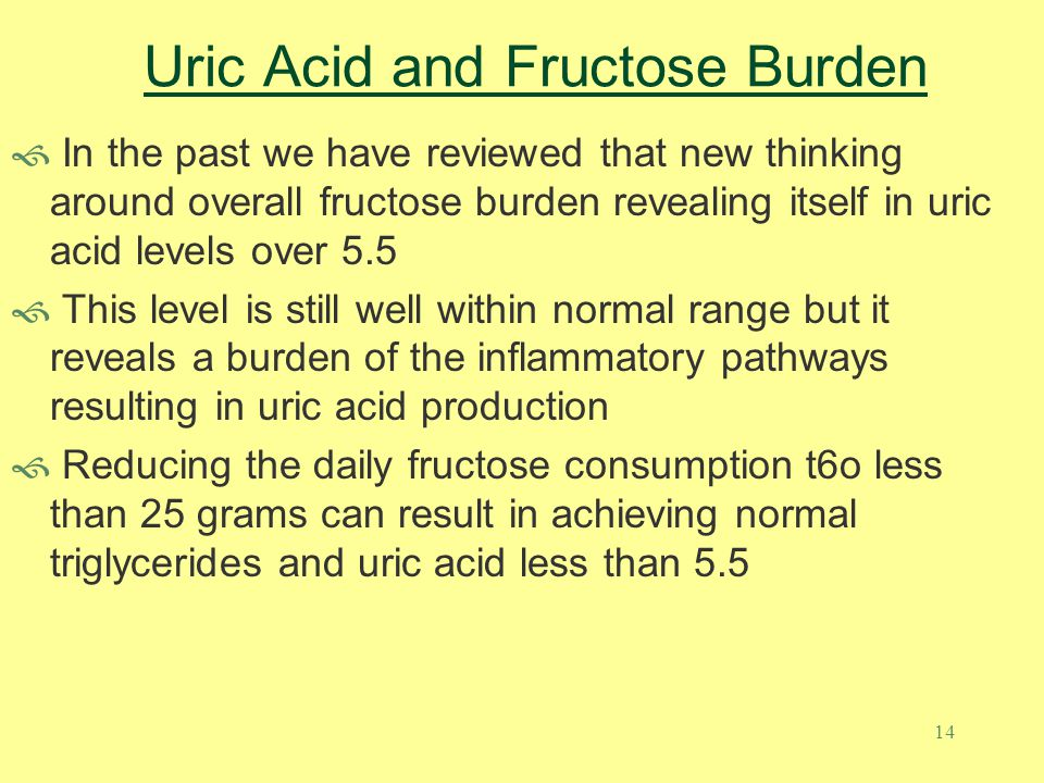 14 Uric Acid and Fructose Burden  In the past we have reviewed that new thinking around overall fructose burden revealing itself in uric acid levels over 5.5  This level is still well within normal range but it reveals a burden of the inflammatory pathways resulting in uric acid production  Reducing the daily fructose consumption t6o less than 25 grams can result in achieving normal triglycerides and uric acid less than 5.5