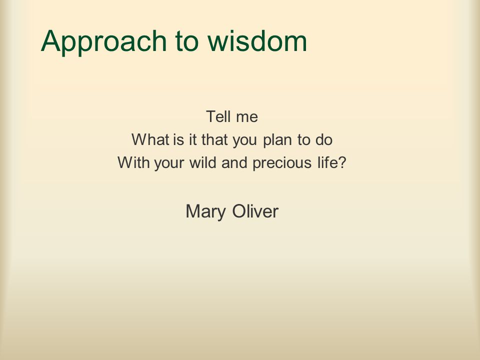 Approach to wisdom Tell me What is it that you plan to do With your wild and precious life? Mary Oliver