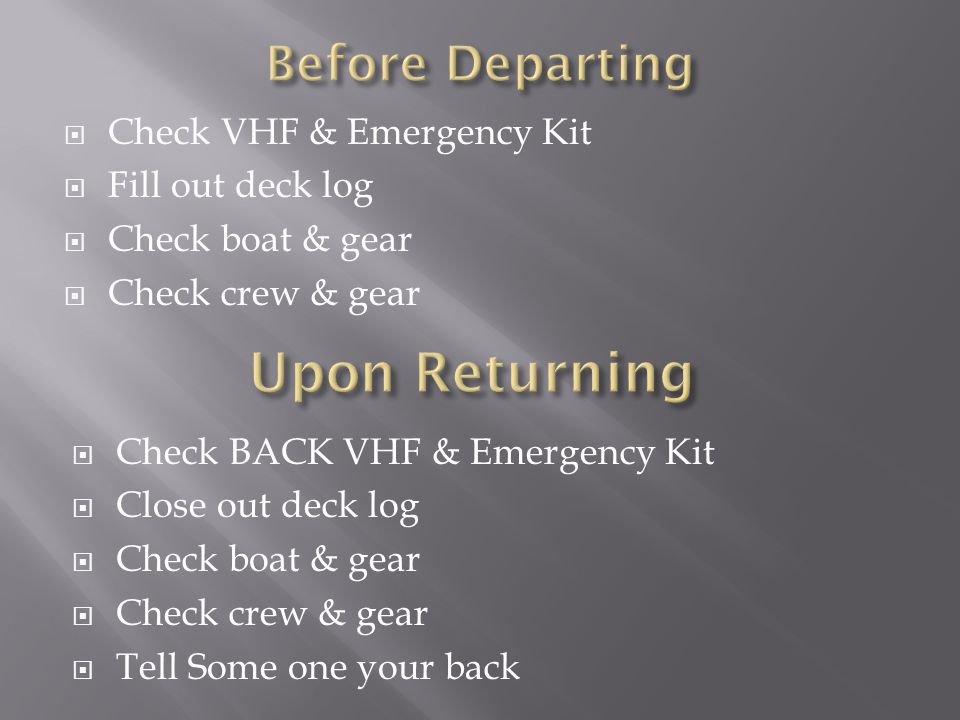  Check VHF & Emergency Kit  Fill out deck log  Check boat & gear  Check crew & gear  Check BACK VHF & Emergency Kit  Close out deck log  Check boat & gear  Check crew & gear  Tell Some one your back