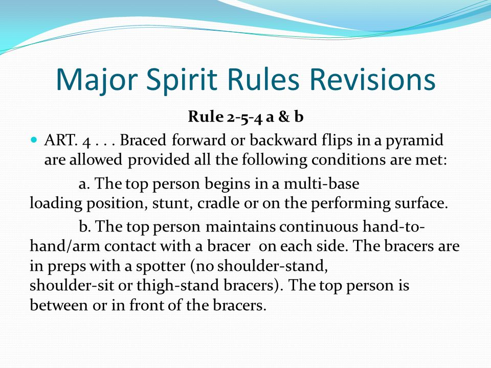 Major Spirit Rules Revisions Rule 2-5-4 a & b ART.