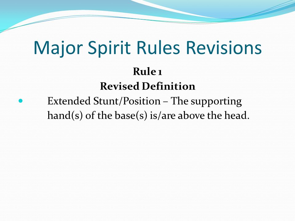Major Editorial Spirit Rules Revisions Rule 2-9-10 g In cradle dismounts where a bracer is involved after the bases release the top person, all the following conditions must be met: g.