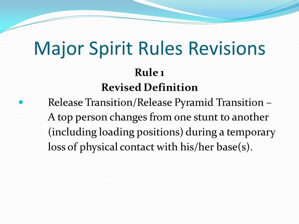 Major Spirit Rules Revisions Rule 2-5-3 1 2 3 Legal