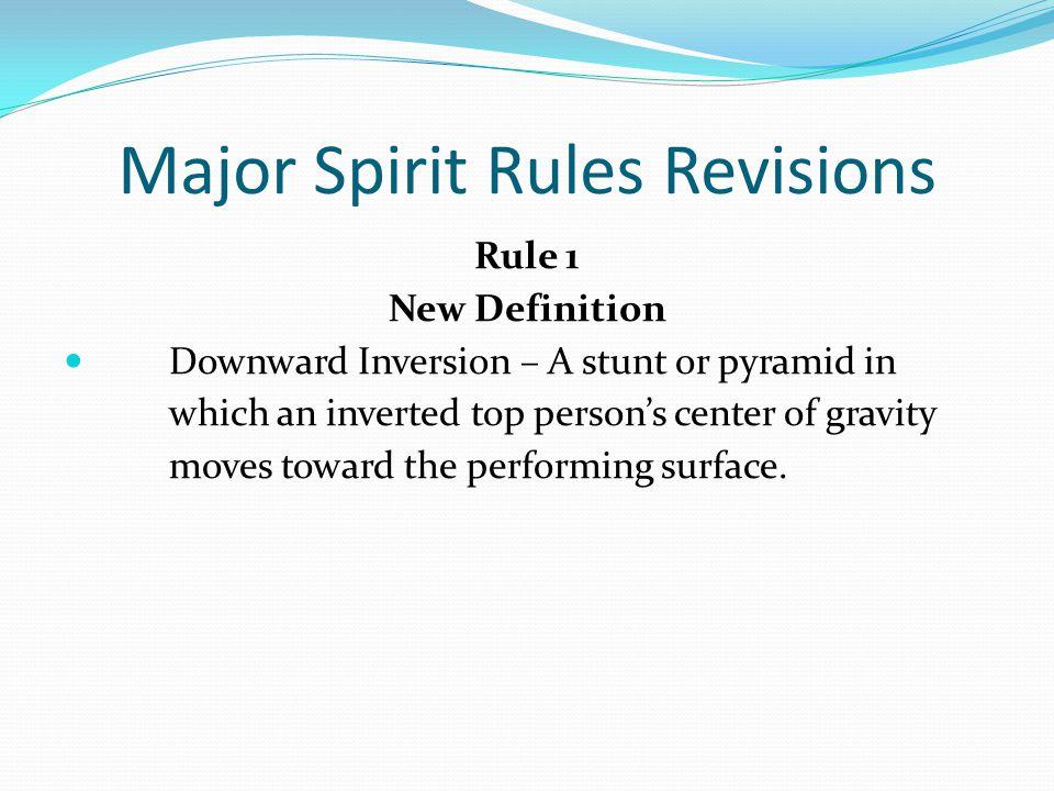 Major Spirit Rules Revisions Rule 2-5-4 a & b ART.