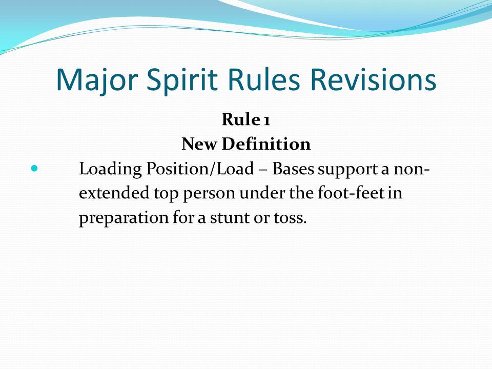 Major Spirit Rules Revisions Rule 2-5-4 c & d ART.