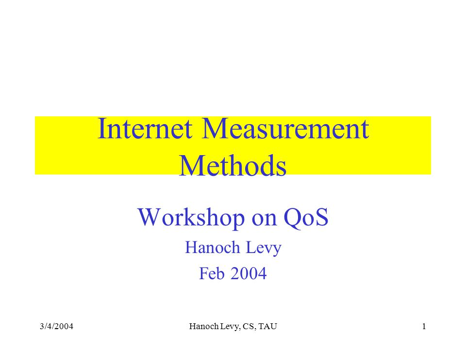 3/4/2004Hanoch Levy, CS, TAU12 Bandwidth Measurement The route to destination consists of routers and links.