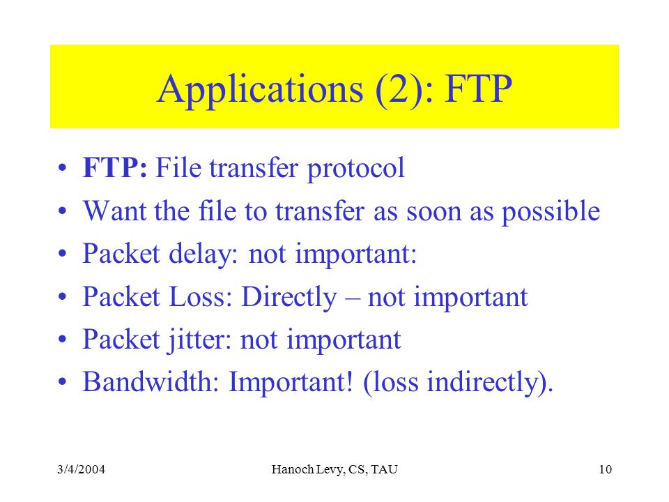 3/4/2004Hanoch Levy, CS, TAU10 Applications (2): FTP FTP: File transfer protocol Want the file to transfer as soon as possible Packet delay: not important: Packet Loss: Directly – not important Packet jitter: not important Bandwidth: Important.