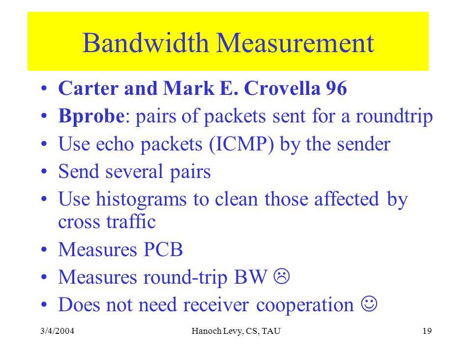 3/4/2004Hanoch Levy, CS, TAU19 Bandwidth Measurement Carter and Mark E.