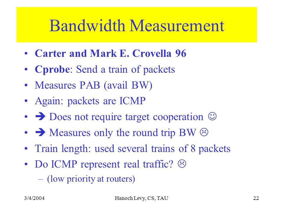 3/4/2004Hanoch Levy, CS, TAU22 Bandwidth Measurement Carter and Mark E.