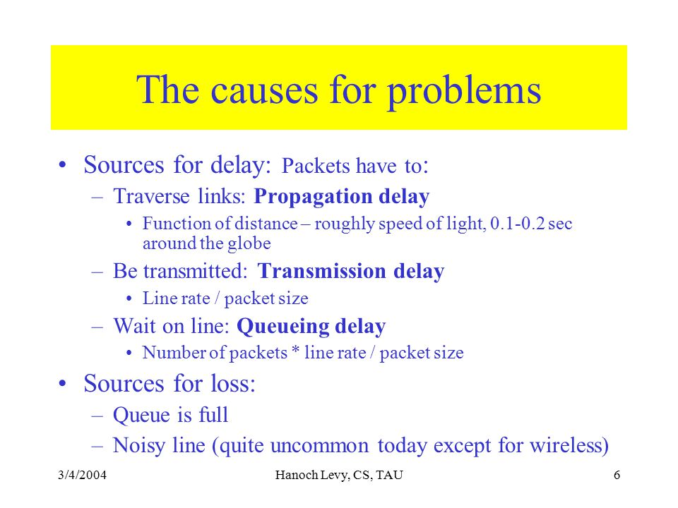 3/4/2004Hanoch Levy, CS, TAU6 The causes for problems Sources for delay: Packets have to : –Traverse links: Propagation delay Function of distance – roughly speed of light, 0.1-0.2 sec around the globe –Be transmitted: Transmission delay Line rate / packet size –Wait on line: Queueing delay Number of packets * line rate / packet size Sources for loss: –Queue is full –Noisy line (quite uncommon today except for wireless)