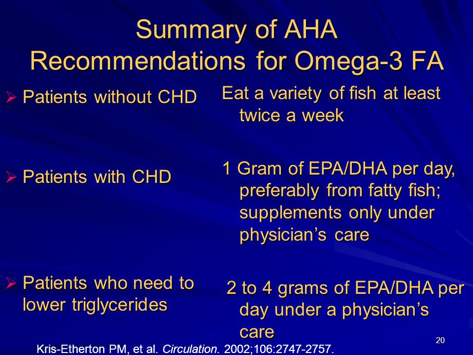 20 Summary of AHA Recommendations for Omega-3 FA  Patients without CHD  Patients with CHD  Patients who need to lower triglycerides Eat a variety of fish at least twice a week 1 Gram of EPA/DHA per day, preferably from fatty fish; supplements only under physician's care 2 to 4 grams of EPA/DHA per day under a physician's care 2 to 4 grams of EPA/DHA per day under a physician's care Kris-Etherton PM, et al.