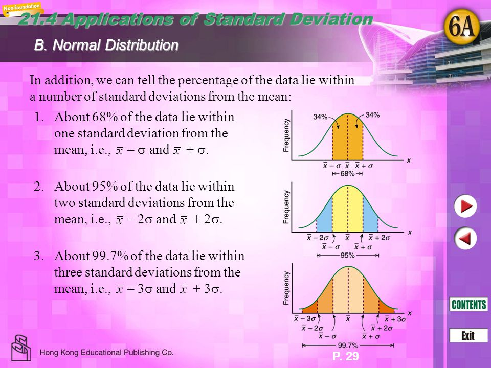 P. 29 In addition, we can tell the percentage of the data lie within a number of standard deviations from the mean: B. Normal Distribution 1.About 68%