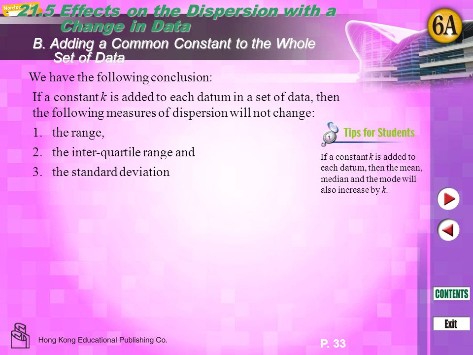P. 33 21.5 Effects on the Dispersion with a Change in Data Change in Data We have the following conclusion: B. Adding a Common Constant to the Whole S