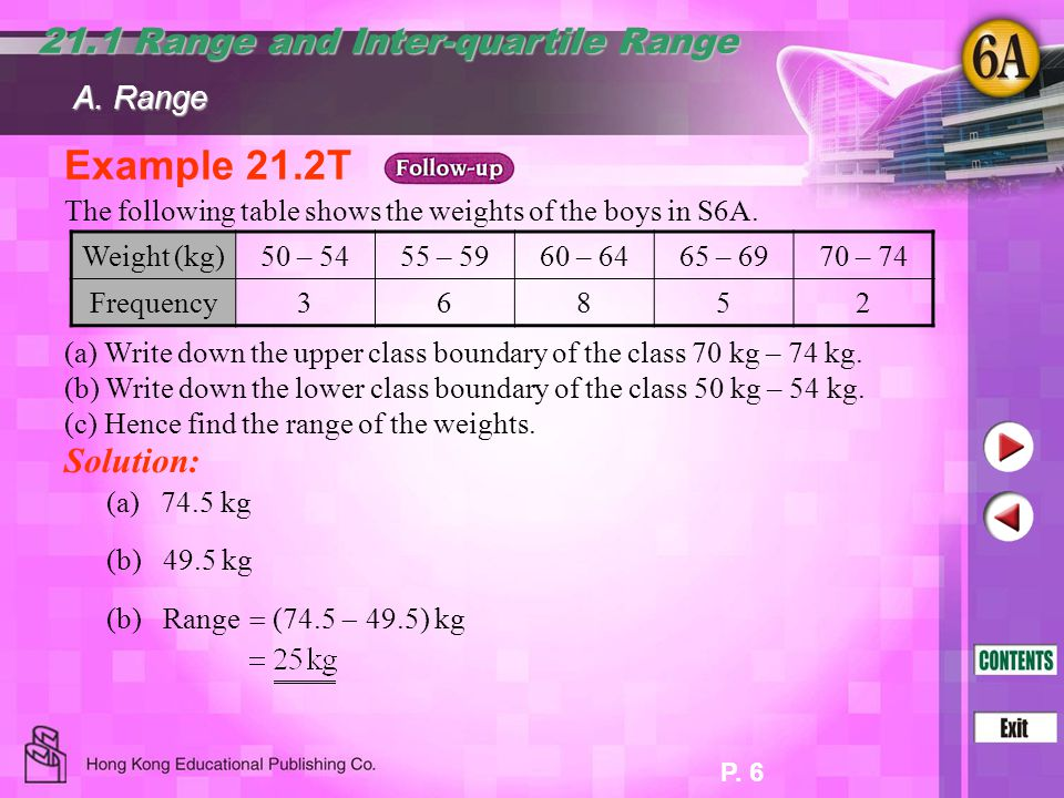 P. 6 Example 21.2T 21.1 Range and Inter-quartile Range The following table shows the weights of the boys in S6A. (a) Write down the upper class bounda