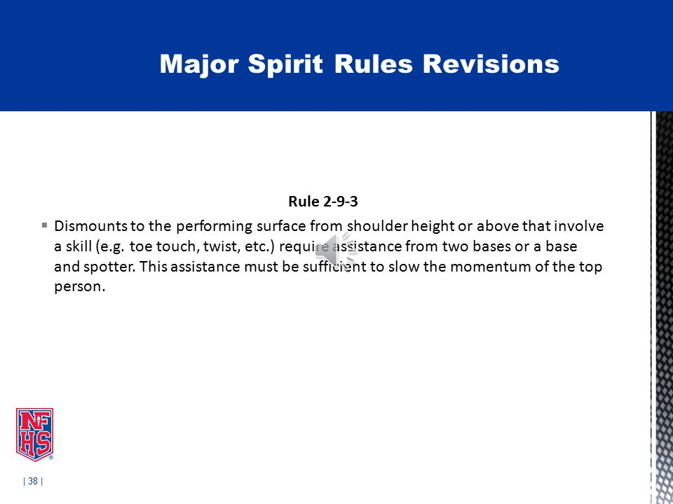 | 38 | Rule 2-9-3  Dismounts to the performing surface from shoulder height or above that involve a skill (e.g.