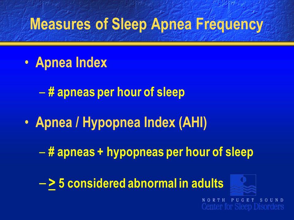 Measures of Sleep Apnea Frequency Apnea Index – # apneas per hour of sleep Apnea / Hypopnea Index (AHI) – # apneas + hypopneas per hour of sleep – > 5 considered abnormal in adults