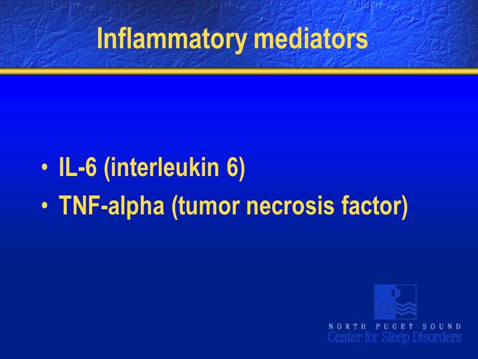 Inflammatory mediators IL-6 (interleukin 6) TNF-alpha (tumor necrosis factor)