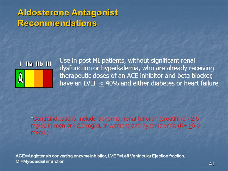 41 Aldosterone Antagonist Recommendations Use in post MI patients, without significant renal dysfunction or hyperkalemia, who are already receiving therapeutic doses of an ACE inhibitor and beta blocker, have an LVEF < 40% and either diabetes or heart failure ACE=Angiotensin converting enzyme inhibitor, LVEF=Left Ventricular Ejection fraction, MI=Myocardial infarction *Contraindications include abnormal renal function (creatinine >2.5 mg/dL in men or >2.0 mg/dL in women) and hyperkalemia (K+ >5.0 meq/L)