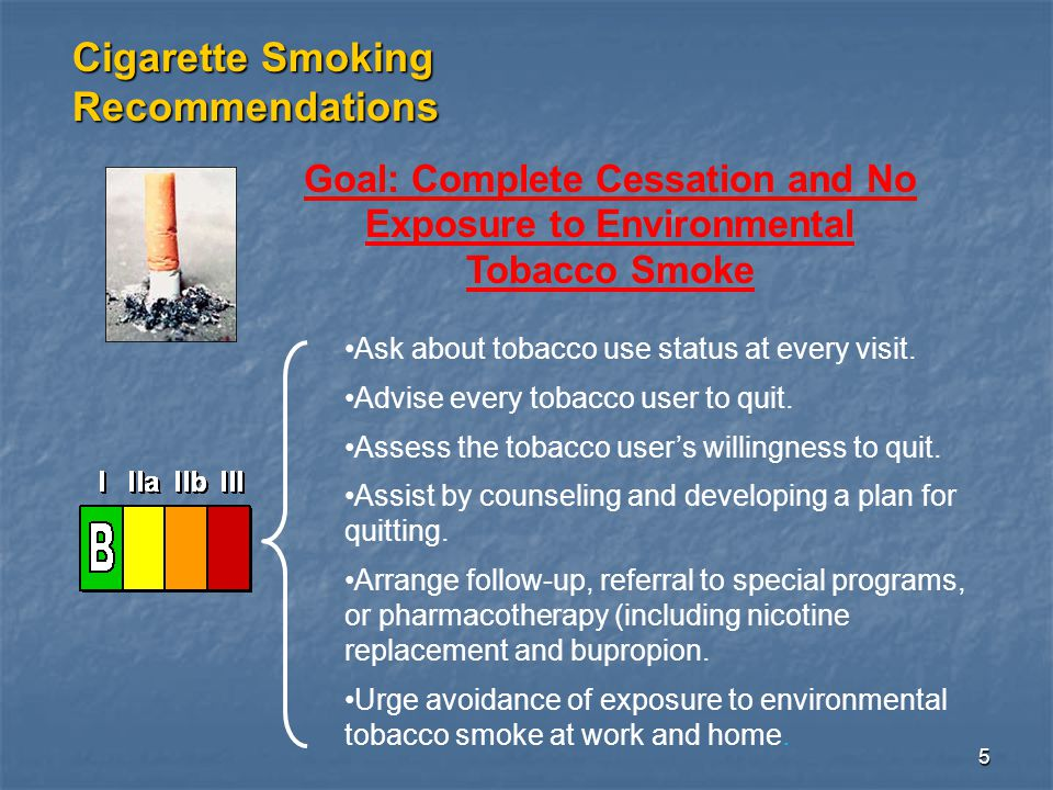 5 Goal: Complete Cessation and No Exposure to Environmental Tobacco Smoke Cigarette Smoking Recommendations Ask about tobacco use status at every visit.