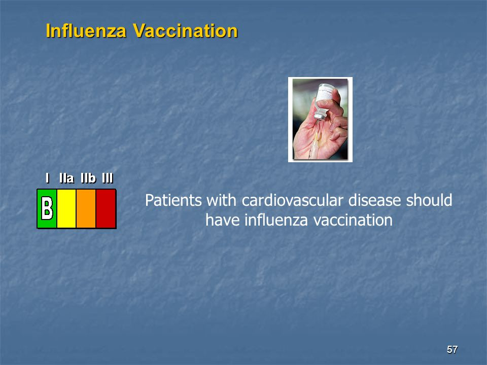 57 Influenza Vaccination Patients with cardiovascular disease should have influenza vaccination
