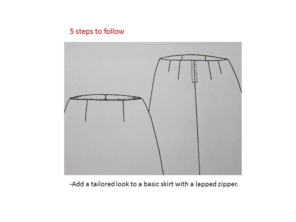 -Add a tailored look to a basic skirt with a lapped zipper. 5 steps to follow
