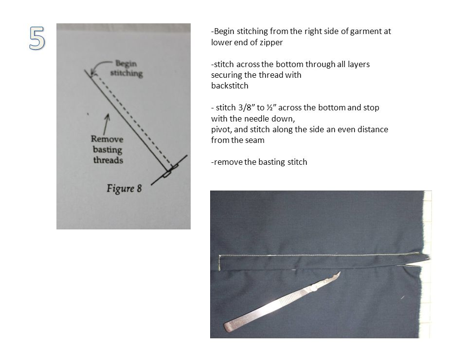-Begin stitching from the right side of garment at lower end of zipper -stitch across the bottom through all layers securing the thread with backstitch - stitch 3/8 to ½ across the bottom and stop with the needle down, pivot, and stitch along the side an even distance from the seam -remove the basting stitch