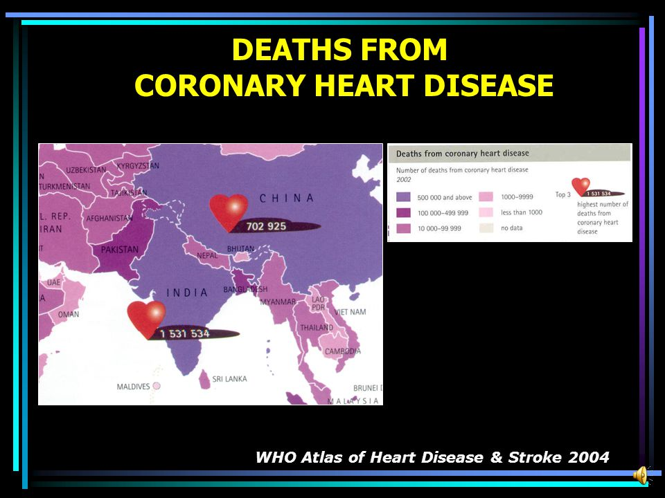 DEATHS FROM CORONARY HEART DISEASE WHO Atlas of Heart Disease & Stroke 2004