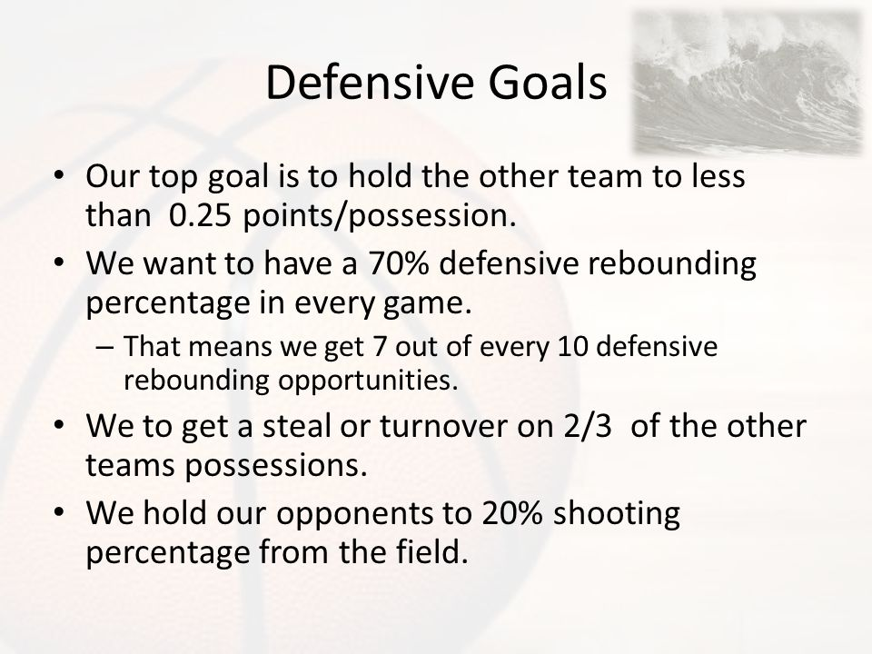 Defensive Goals Our top goal is to hold the other team to less than 0.25 points/possession. We want to have a 70% defensive rebounding percentage in e