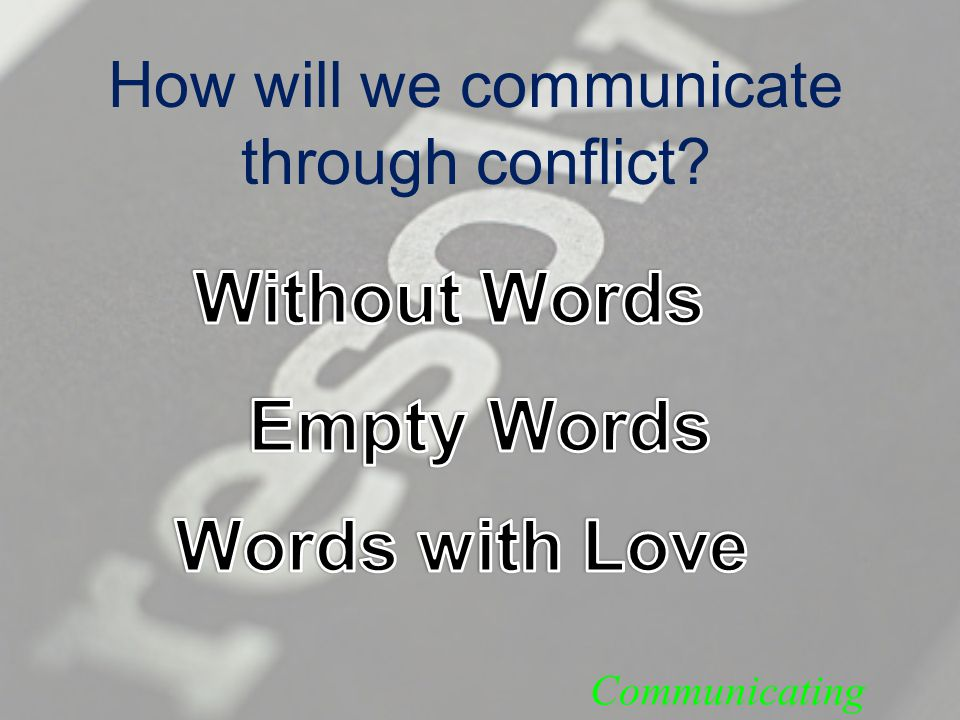 How will we communicate through conflict Communicating