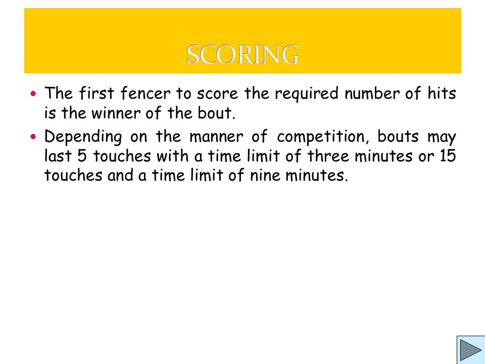 A fencing bout follows rules which are interpreted by a Referee (or President) assisted by four judges.