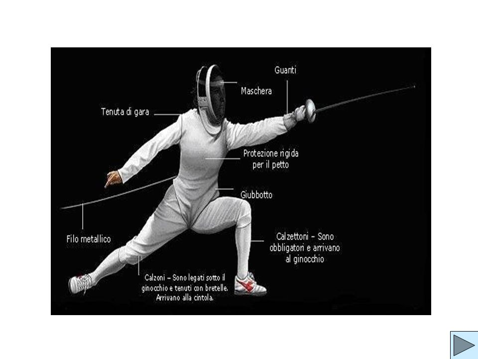 a body cord is necessary to register scoring (it attaches to the weapon and runs inside the jacket sleeve, then down the back and out to the scoring box); a pair of fencing breeches, to protect the legs; a fencing glove that covers the sleeve on the sword- arm.