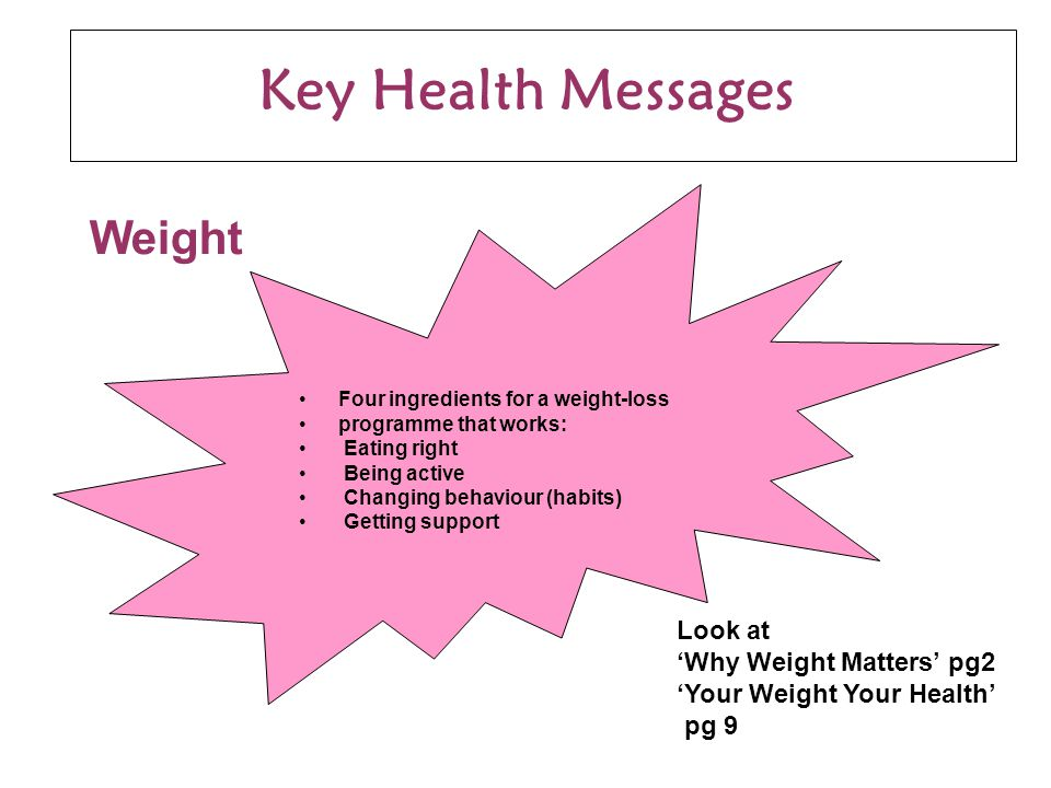 Key Health Messages Four ingredients for a weight-loss programme that works: Eating right Being active Changing behaviour (habits) Getting support Weight Look at 'Why Weight Matters' pg2 'Your Weight Your Health' pg 9