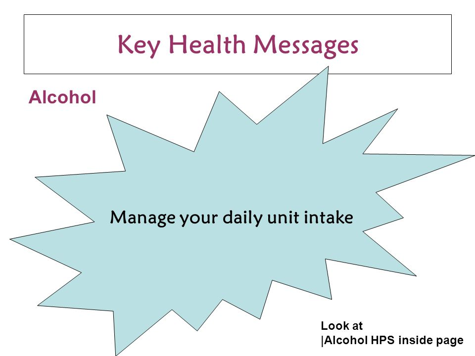 Key Health Messages Alcohol Manage your daily unit intake Look at |Alcohol HPS inside page