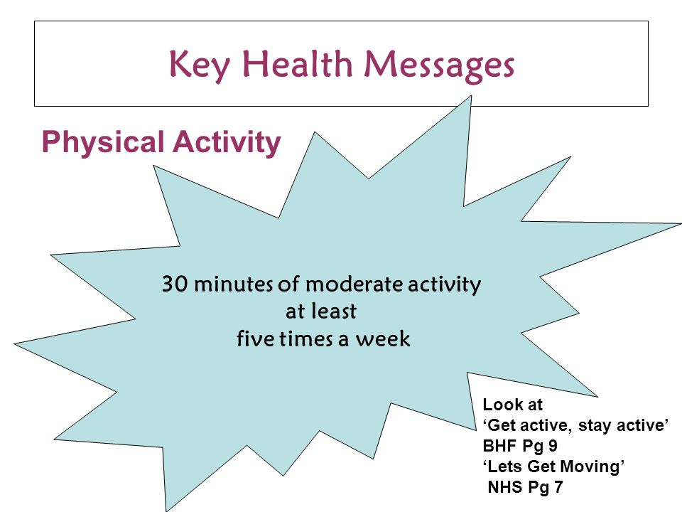Key Health Messages Physical Activity 30 minutes of moderate activity at least five times a week Look at 'Get active, stay active' BHF Pg 9 'Lets Get Moving' NHS Pg 7
