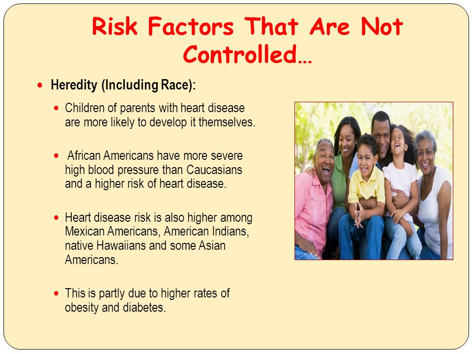 Risk Factors That Can Be Controlled… Tobacco smoke: Smokers risk of developing coronary heart disease is 2-4 times that of nonsmokers.